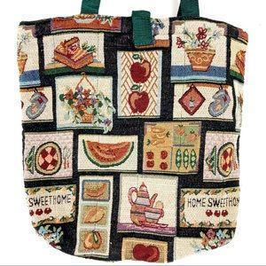 Vintage tapestry tote bag purse cottagecore